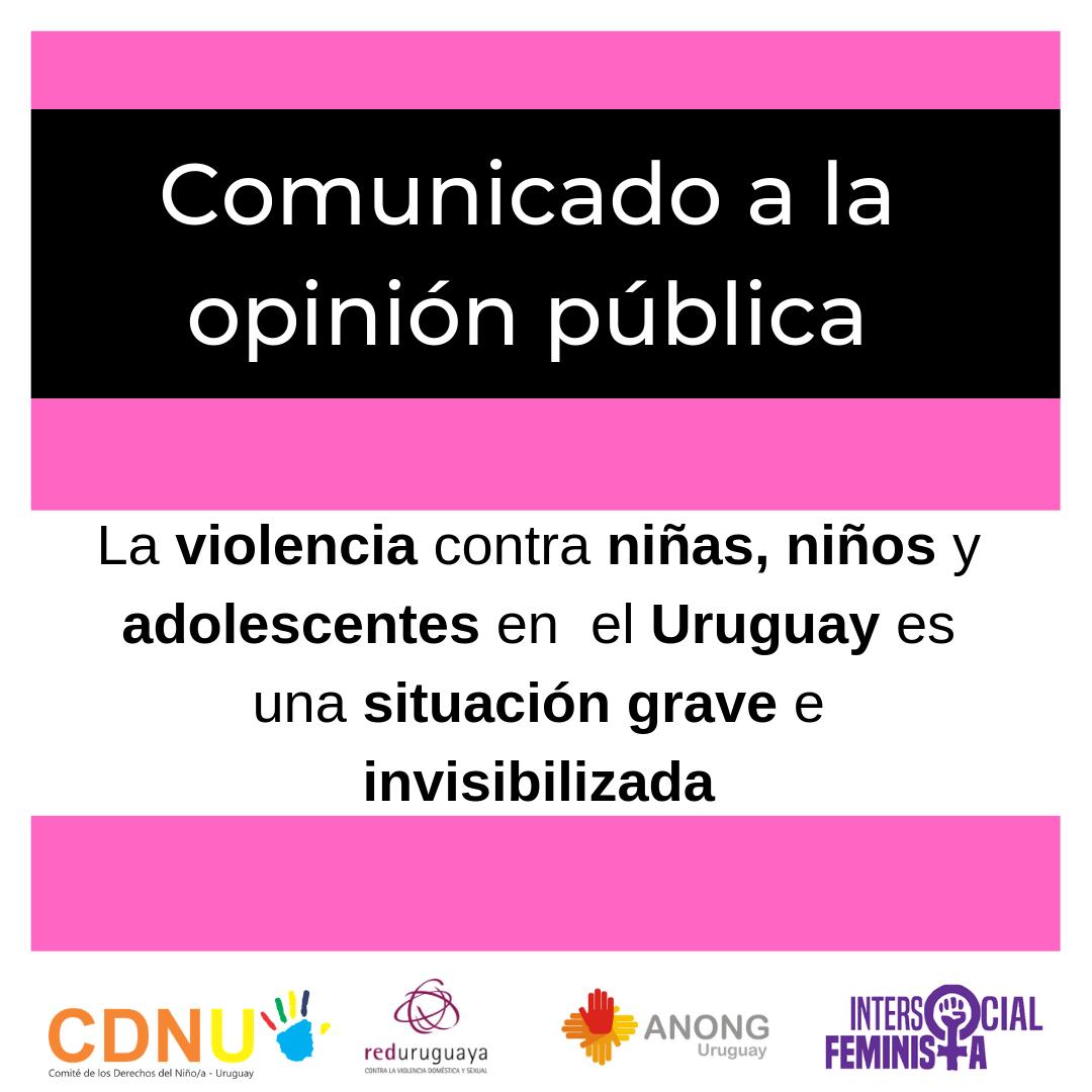 La violencia contra niñas, niños y adolescentes en  el Uruguay es una situación grave e invisibilizada